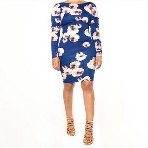 Kardashian Kollection L foral bodycon dress euc